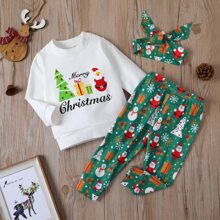 Baby Girl Christmas And Letter Print Sweatshirt & Sweatpants & Headband