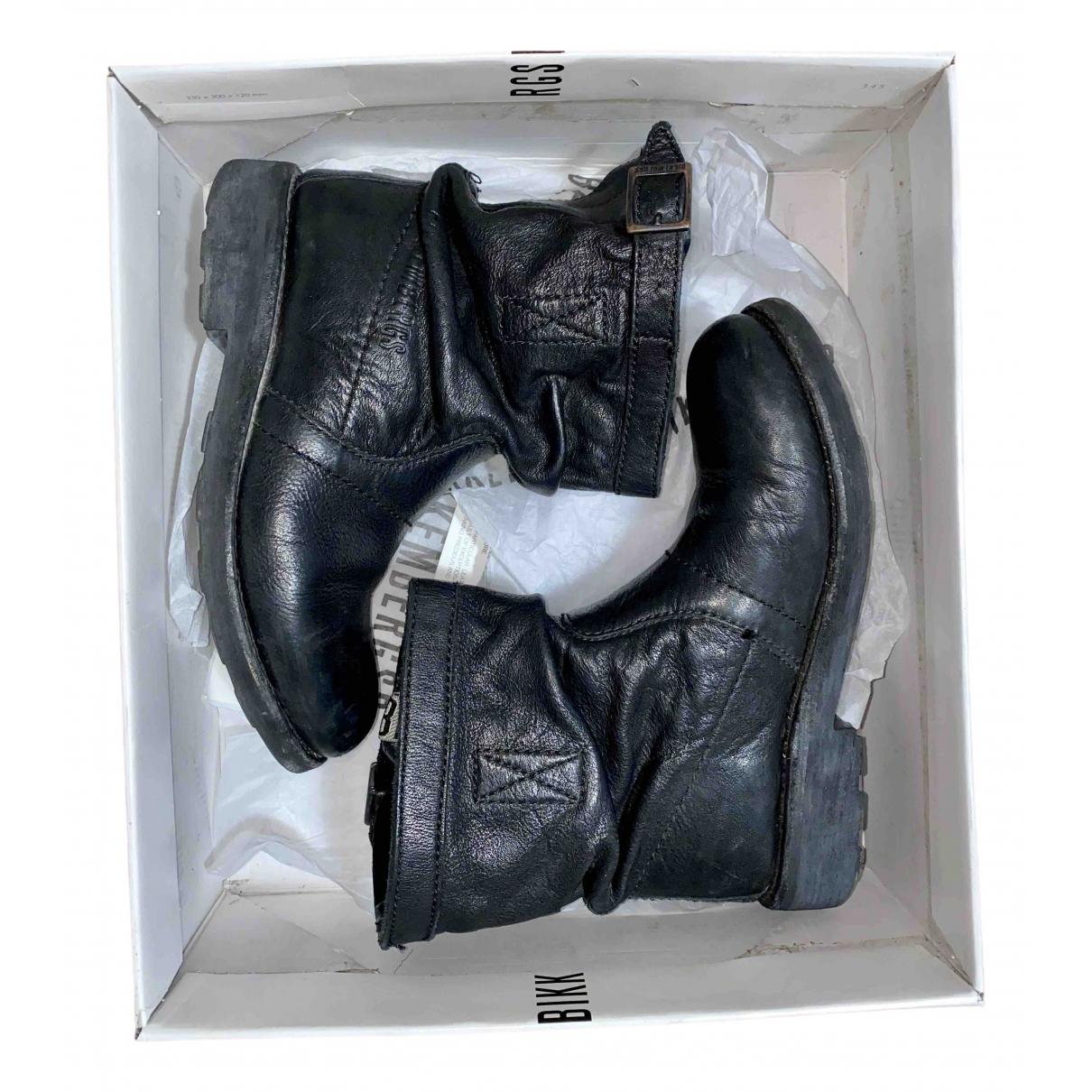 Dirk Bikkembergs \N Black Leather Boots for Women 37 EU