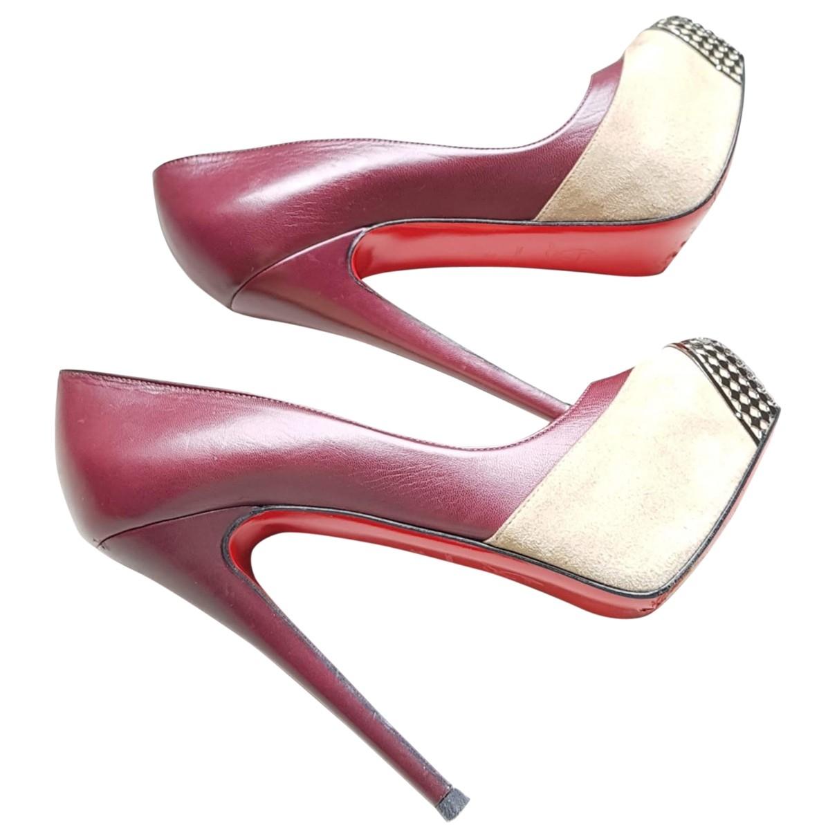 Christian Louboutin \N Burgundy Leather Heels for Women 37 EU