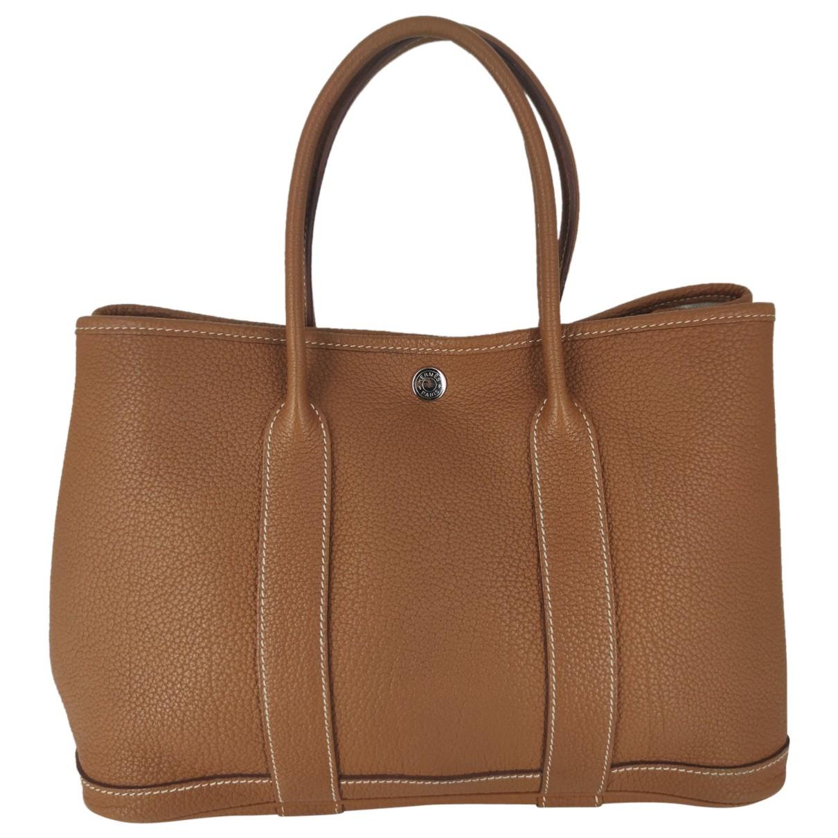 Hermes - Sac a main Garden Party pour femme en cuir - marron
