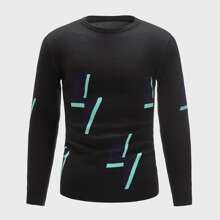 Pullover mit Geo Muster und rundem Kragen