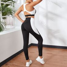 Zweifarbiger Sports BH mit Ausschnitt hinten & Leggings