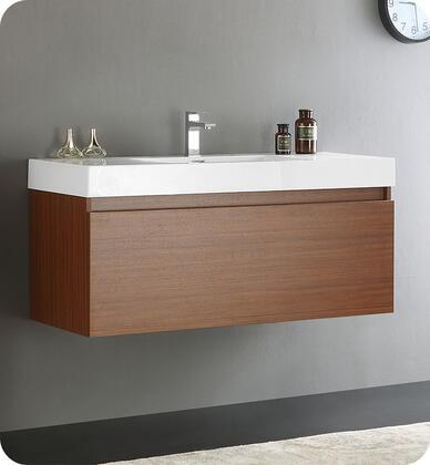 FCB8011TK-I  Mezzo 48 Teak Wall Hung Modern Bathroom Cabinet with Integrated