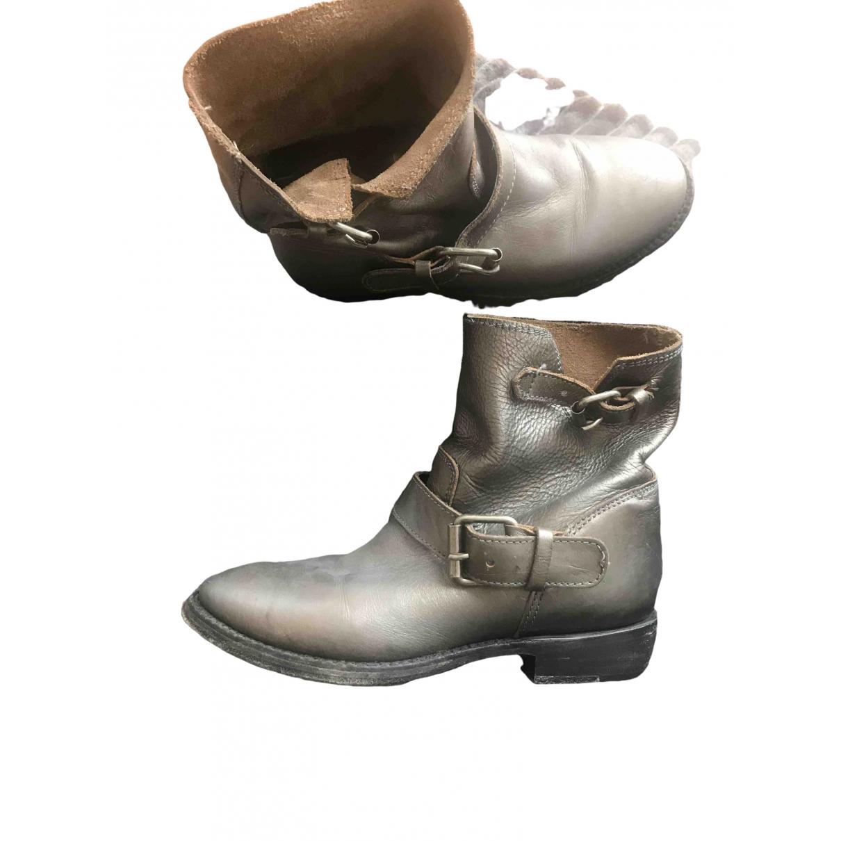 Ash \N Stiefeletten in  Silber Leder