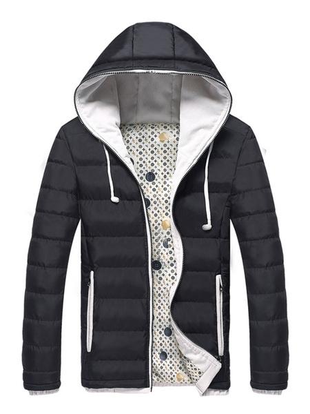 Milanoo Men Quilted Coat Zipper Up Two Tone Puffer Coat Deep Blue Long Sleeve Down Jacket