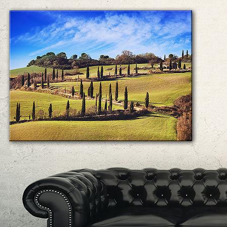 Designart Cypress Trees Scenic Road Siena Italy Canvas Art, One Size , Green