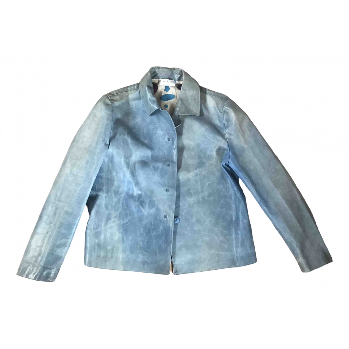 Marni \N Blue Leather jacket for Women 44 IT