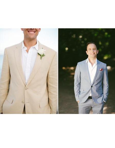 Mens Beach Wedding Attire Suit Menswear Beige/Gray 199
