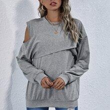 Sweatshirt mit Wickel vorn und sehr tief angesetzter Schulterpartie