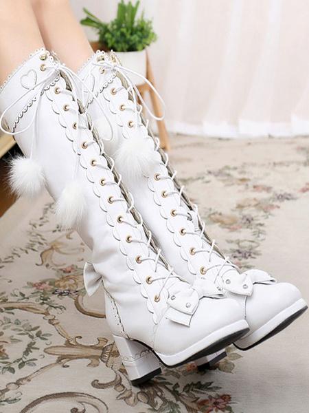 Milanoo Classic Lolita Boots Knee High Chunky Heel Platform Square Toe Lace Up Pink Lolita Winter Boots