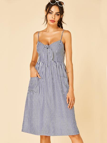 YOINS Blue & White Stripe Knotted Design High-waisted Midi Dress