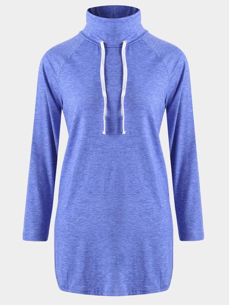 Yoins Blue Drawstring High Neck Long Sleeves Curved Hem Shirt