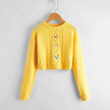 Pullover mit Sonnenblumen Stickereien und Strick Detail