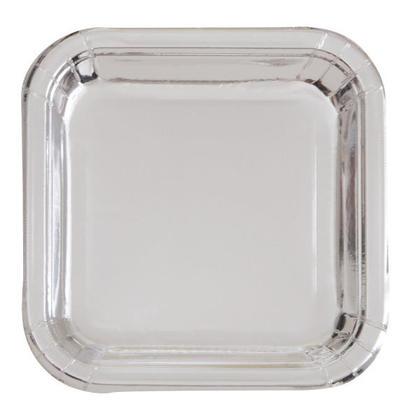 Paper Dinner Square Plate Foil Silver 9