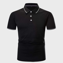 Guys Striped Print Half Placket Polo Shirt