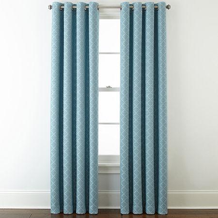Liz Claiborne Quinn Lattice Room-Darkening Grommet Top Single Curtain Panel, One Size , Blue