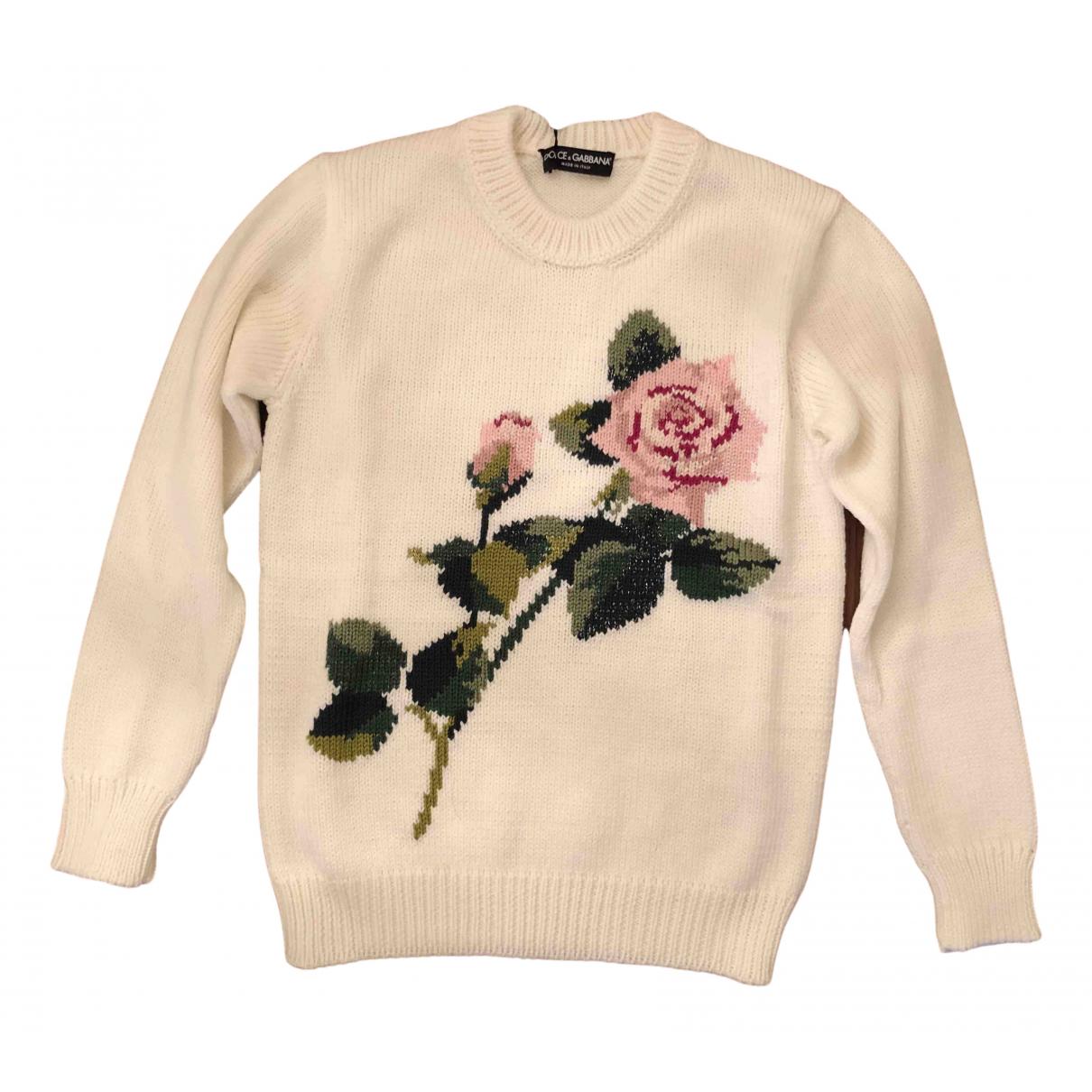 Dolce & Gabbana - Pull   pour femme en laine - blanc
