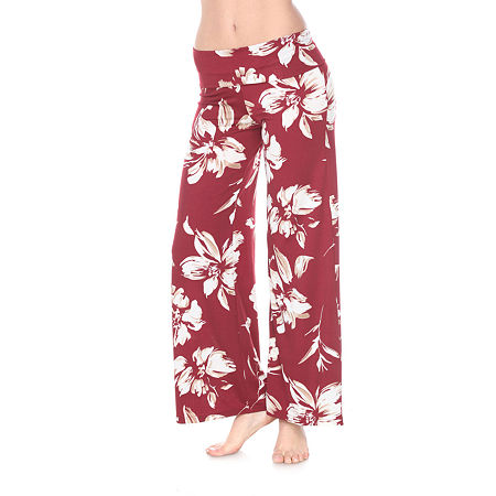 White Mark Womens Mid Rise Wide Leg Palazzo Pant, Large , Red