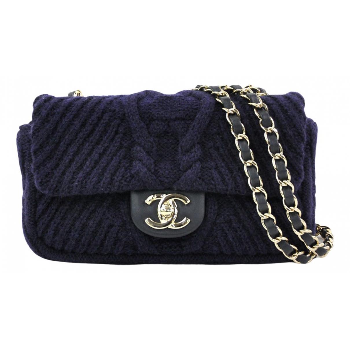 Chanel - Sac a main Timeless/Classique pour femme en laine - bleu