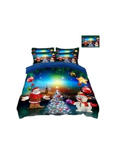Santa Claus and Snowman Colorful Printing Polyester 4-Piece 3D Bedding Sets/Duvet Covers