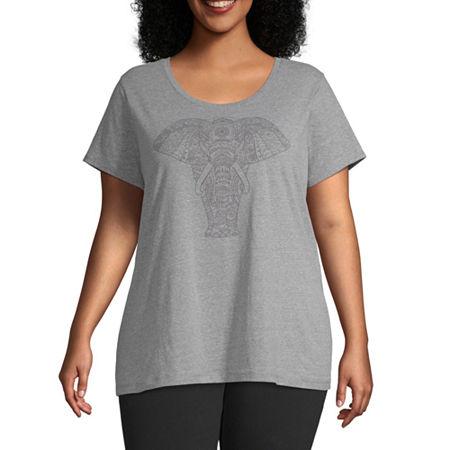 St. Johns Bay-Womens Crew Neck Short Sleeve T-Shirt, 1x , Green