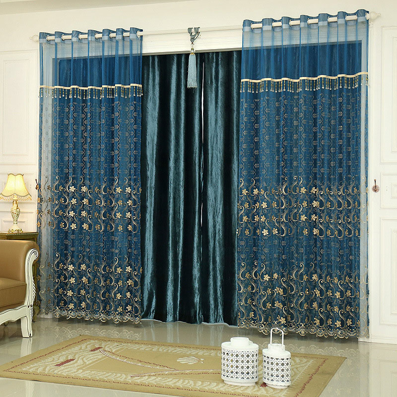 Luxurious Classic Custom Living Room Embroidery Sheer Curtains with Thick Jacquard Fabrics Cloth and Surface Clearly Visible Jacquard Patterns and Ste