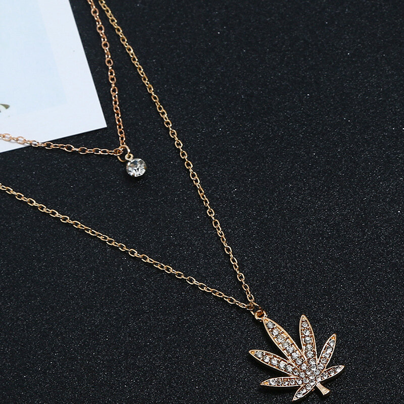 African Maple Leaf Women Necklace Rhinestone Long Style Necklace