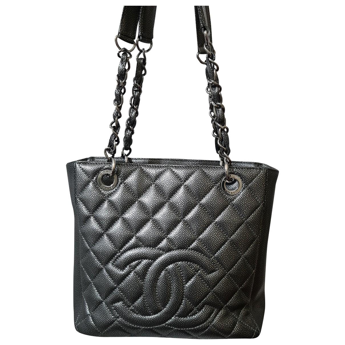 Chanel Petite Shopping Tote Grey Leather handbag for Women N