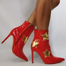 Christmas Star Graphic Stiletto Heeled Boots