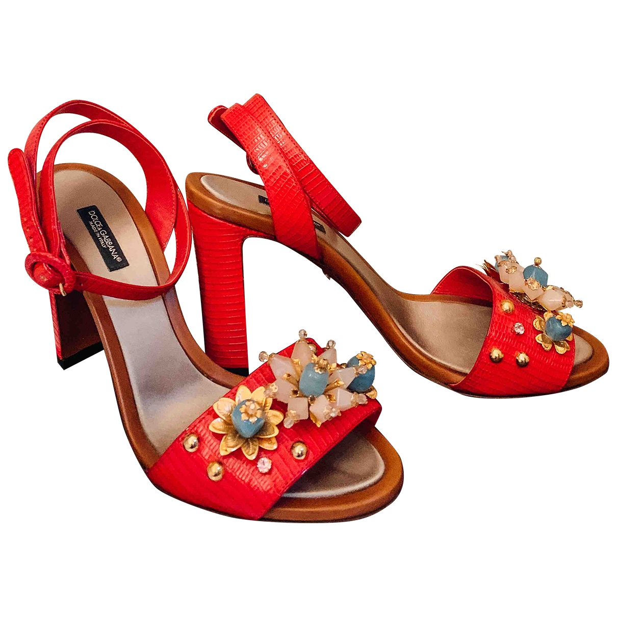Dolce & Gabbana \N Red Lizard Sandals for Women 39 IT