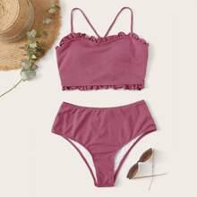 Gerippter Bikini Badeanzug mit Rueschenbesatz und hoher Taille