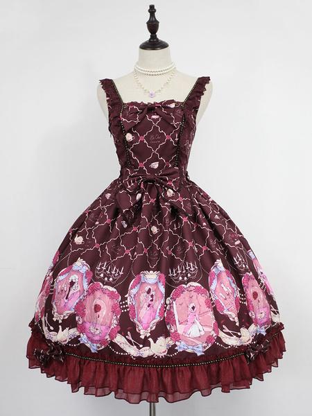 Milanoo Falda de Lolita  sin mangas con estampado de chifon estilo clasico