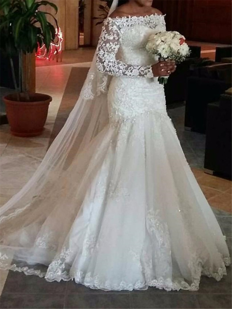Ericdress Beautiful Long Sleeves Lace Mermaid Wedding Dress