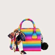 Colorblock Satchel Bag With Twilly Scarf
