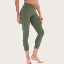 Crop Sports Leggings mit breitem Taillenband
