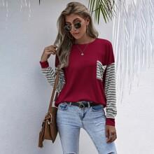 Colorblock Striped  Pocket Front Sweatshirt