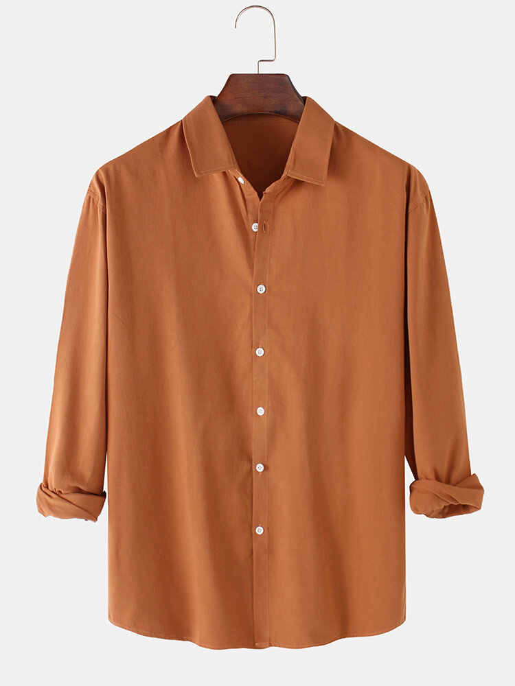 Mens Solid Color Basic Casual Loose Button Up Long Sleeve Shirts