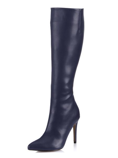 Milanoo Wide Calf High Knee Boots High Heel Black Pointed Toe Women's Knee length Shoes