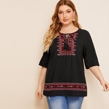 Plus Tassel Tie Neck Embroidered Top