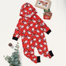 Jumpsuit mit Weihnachten Muster und Kapuze