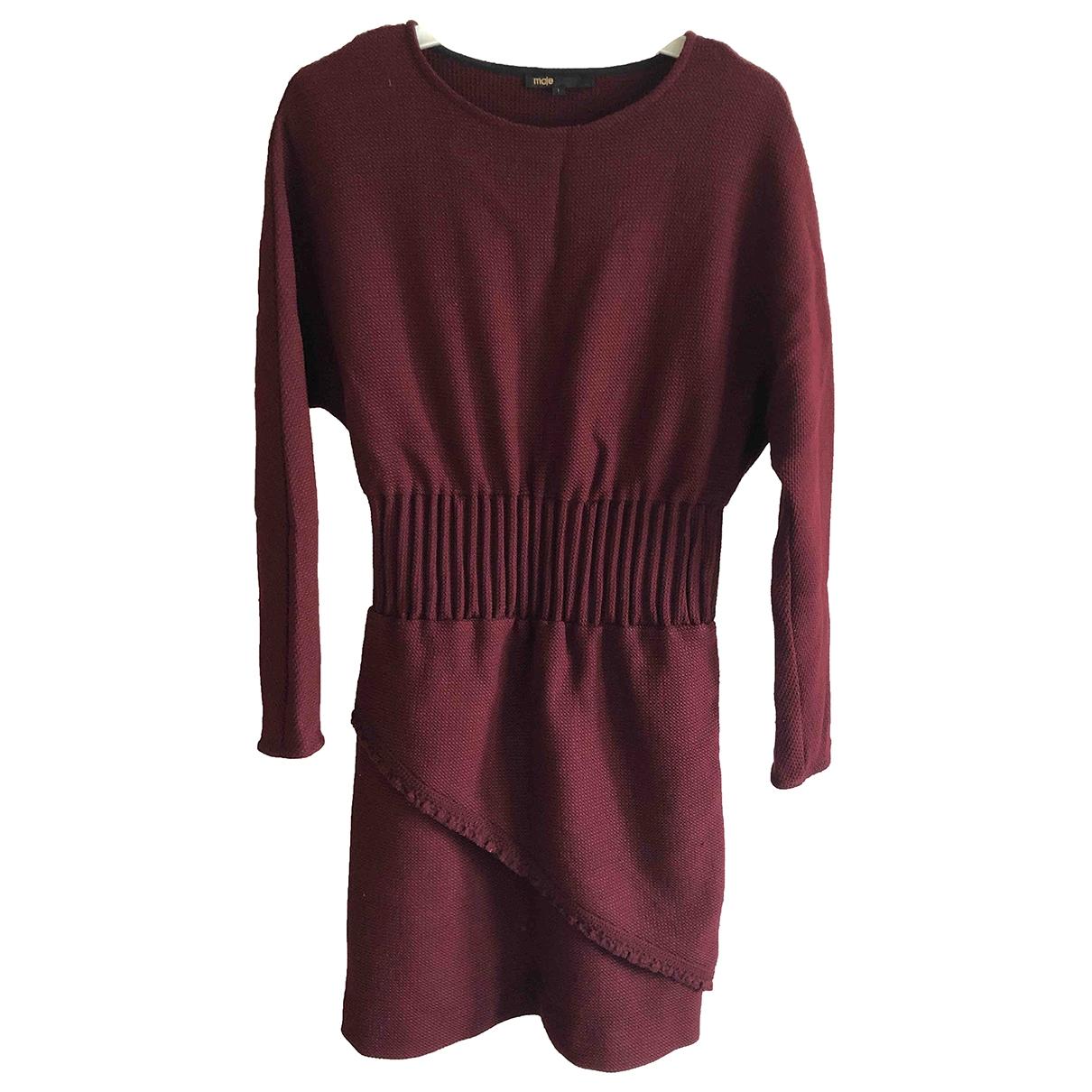 Maje \N Kleid in  Bordeauxrot Polyester