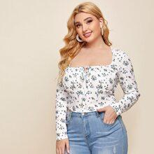Camisetas de Tallas grandes Lazo delantero floral de margarita Casual