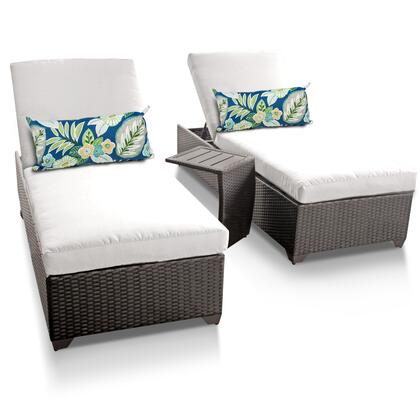 Barbados BARBADOS-2x-ST-WHITE 3-Piece Patio Set with 2 Chaises and 1 Side Table - Wheat and Sail White