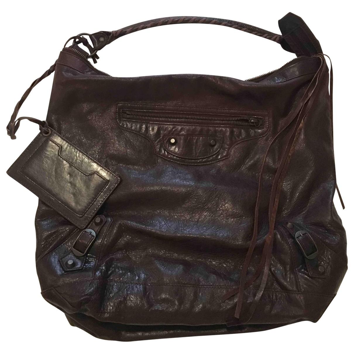 Balenciaga Day  Brown Leather handbag for Women \N