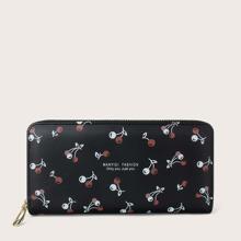 Cherry Graphic Zipper Around Purse
