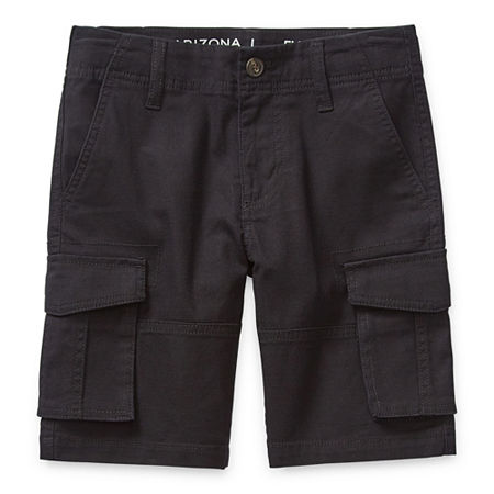 Arizona Little & Big Boys Adjustable Waist Cargo Short, 8 Husky , Black