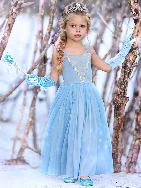 Milanoo Girls Dresses Elsa Blue Kids Princess Straps Party Dress