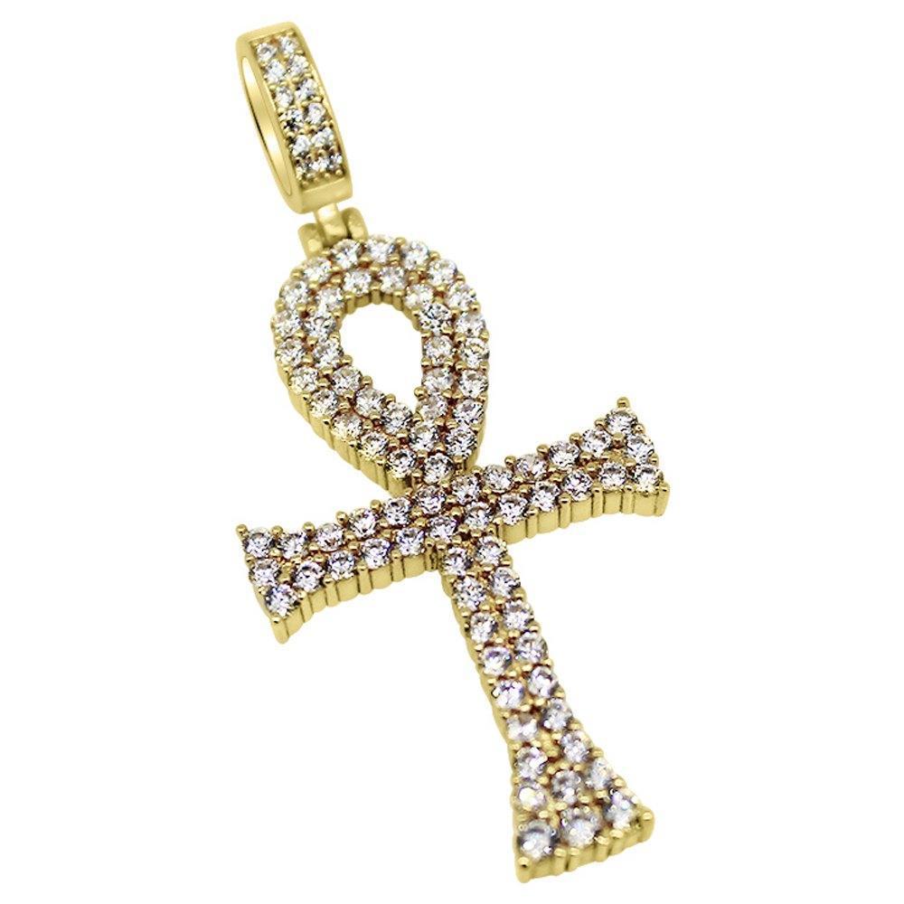 .925 Silver Bling Bling Ankh CZ Gold Cross