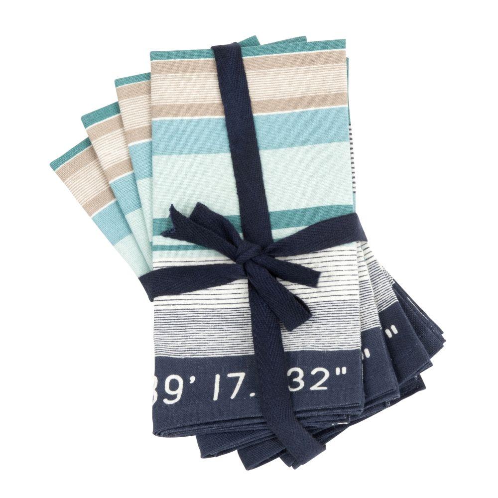 Baumwollservietten mit blauen und gruenen Streifen 40x40 (x4)
