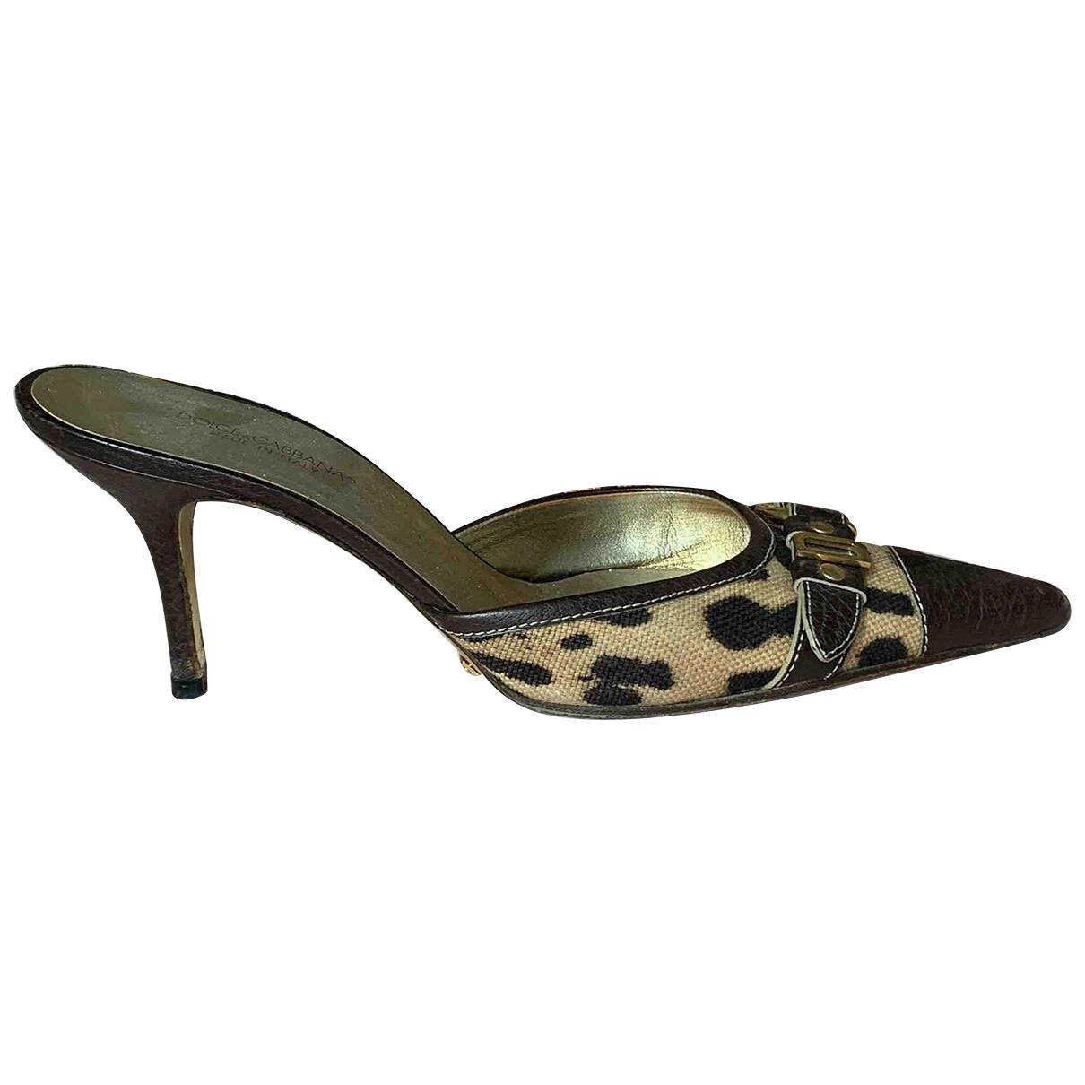 Dolce & Gabbana - Escarpins   pour femme en toile - marron